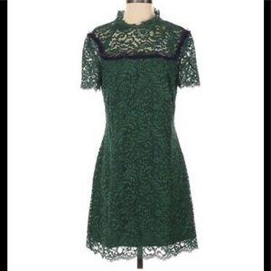 Sandro Erle Lace Mini Dress In Moss